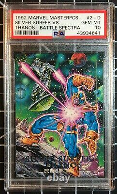 1992 Marvel Masterpieces Spectra #2-D Silver Surfer vs. Thanos PSA 10 GEM POP4
