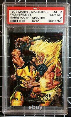 1992 Marvel Masterpieces Spectra #3-D Wolverine vs. Sabretooth PSA 10 GEM POP11