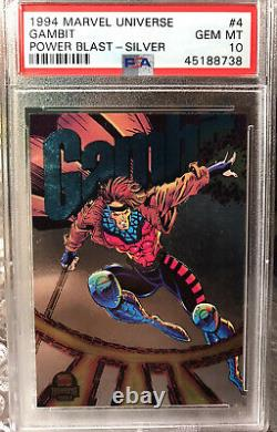 1994 Gambit Marvel Universe Box PSA 10 Card Power Blast Silver POP 2