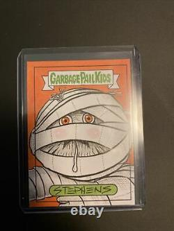 2021 Topps Garbage Pail Kids Food Fight Mummy Sketch Card Stevens artist