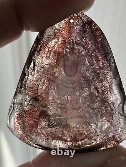 42mm AAAAA Super Seven Lepidocrocite Amethyst Guan Yin Pendant Carving 19 Grams
