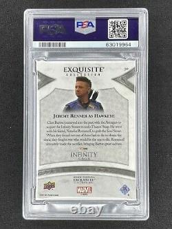 JEREMY RENNER AS HAWKEYE RED EXQUISITE /23 PSA 9 MINT 2021 Marvel Black Diamond
