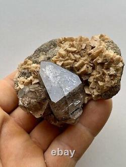 Super Unique Herkimer Diamond Cluster on matrix with Dolomite, Dark Crystals
