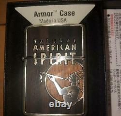 Used Zippo Armor Natural American Spirit Mirror Plating Japan Super Cool Rare